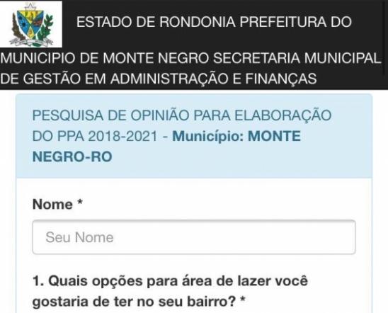 PPA 2018-2021: Participe, dê a sua opinião para administração da prefeitura de Monte Negro, em RO