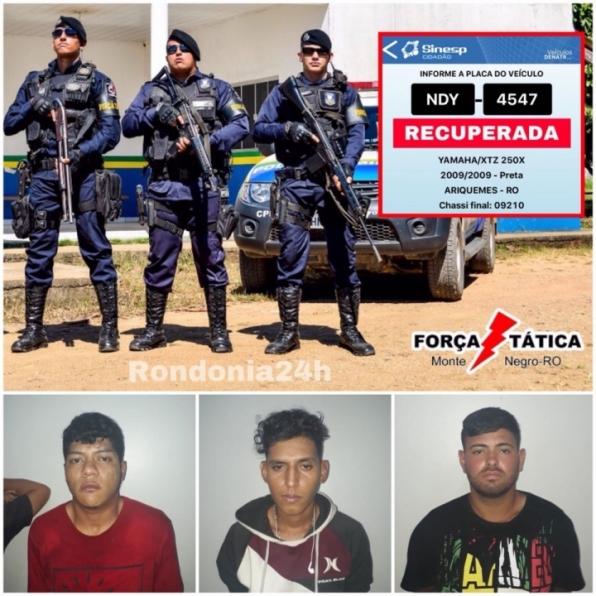Força Tática de Monte Negro recupera motocicleta roubada e prende suspeitos em Ariquemes, RO