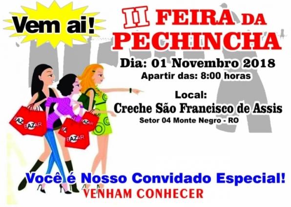 2ª Feira da Pechincha na Creche São Francisco de Monte Negro, nesta quarta-feira (01/10)