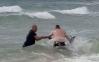Policiais australianos se atiram ao mar para salvar canguru de afogamento
