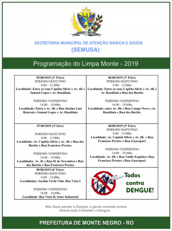 LIMPA MONTE NEGRO 2019: Semusa realiza limpeza entre os dias 05 á 09 de agosto, na cidade