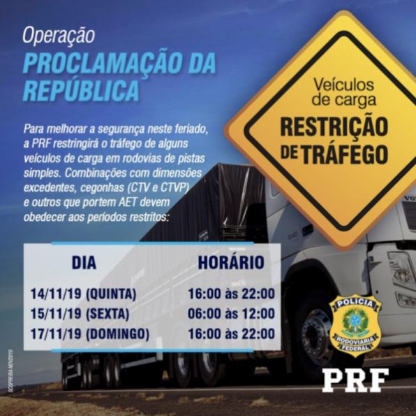 Na madrugada desta quinta-feira, PRF inicia a Operação Proclamação da República