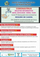 CORONAVíRUS: Veja os dados do boletim CM-COVID 19 desta quinta (26), em Monte Negro