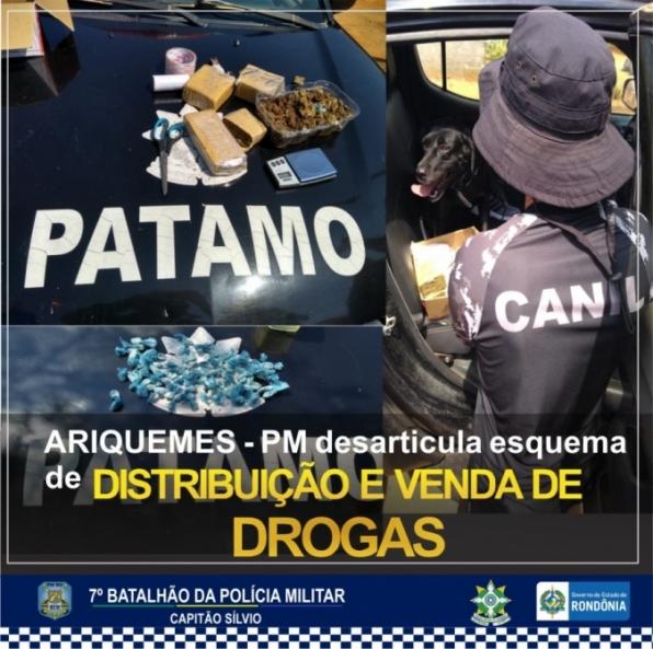 PM desarticula esquema de distribuição e venda de drogas em Ariquemes