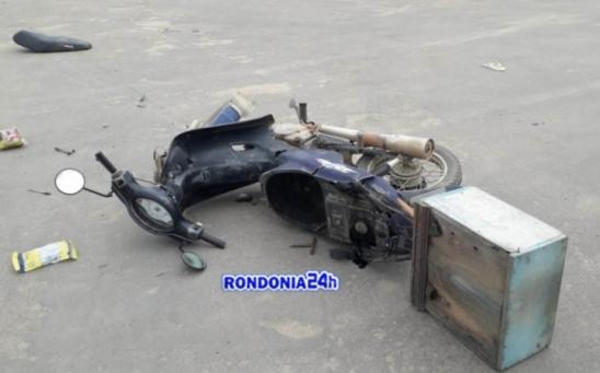 Trabalhador traumatismo craniano e motorista foge do acidente de transito, em Monte Negro