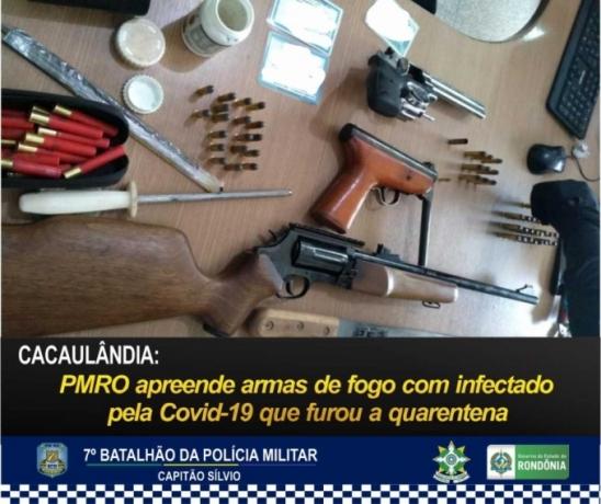 CACAULÂNDIA: PMRO apreende armas de fogo com infectado pela Covid-19 que furou a quarentena