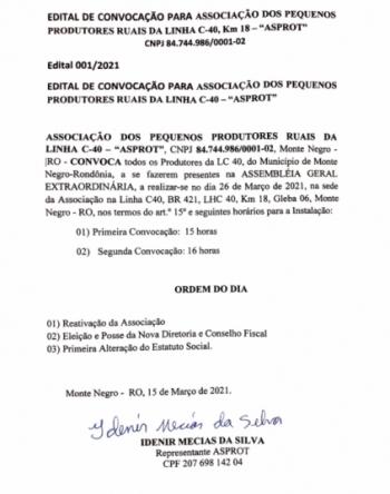 EDITAL 001/2021 DE CONVOCAÇÃO PARA A ASSEMBLÉIA GERAL EXTRAORDINÁRIA DA ASPROT